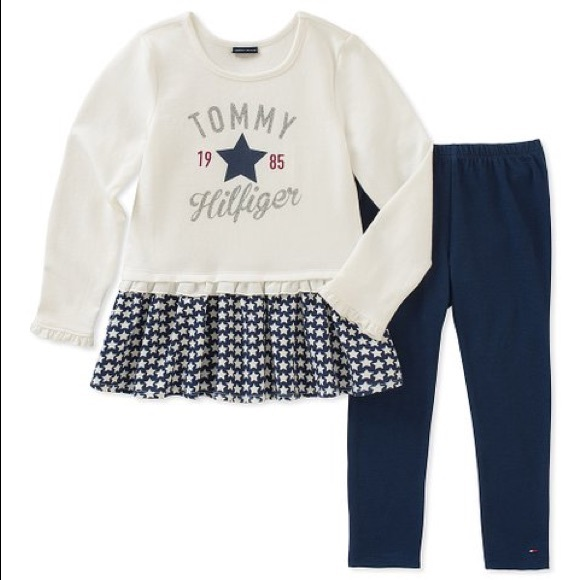 Tommy Hilfiger White Navy Ruffle Tunic & Leggings